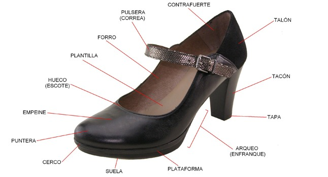Partes de un zapato de mujer